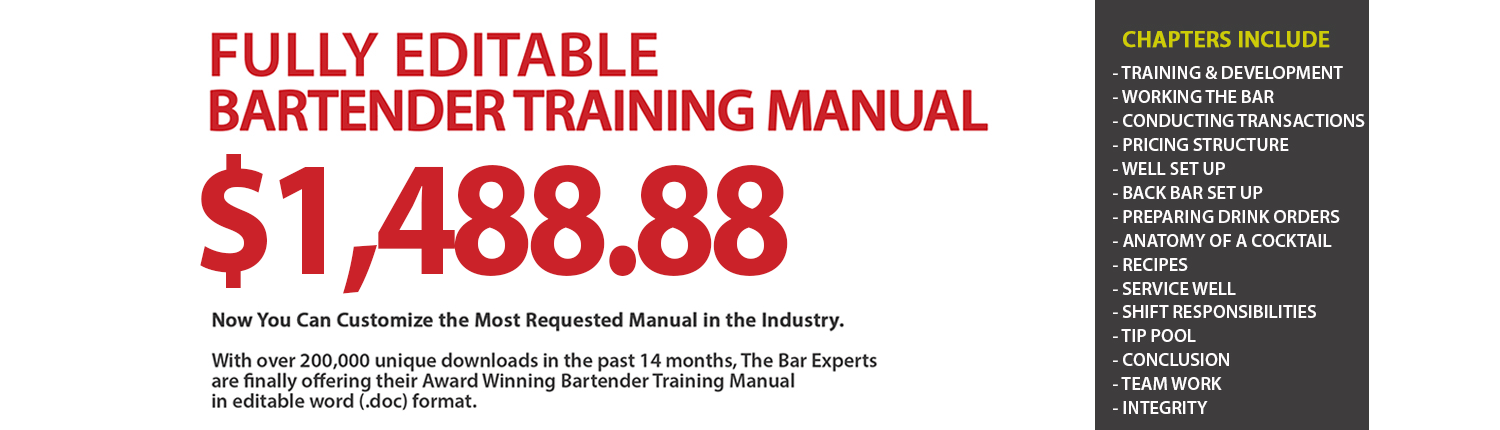 Editable Bartender Manual From The Bar Experts
